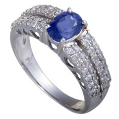 Sapphire and Diamond Pave Platinum Band Ring