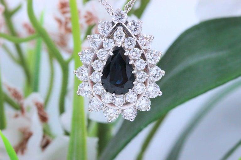 Pear Cut Sapphire and Diamond Pendant Necklace 4.78 Carat 14 Karat White Gold For Sale