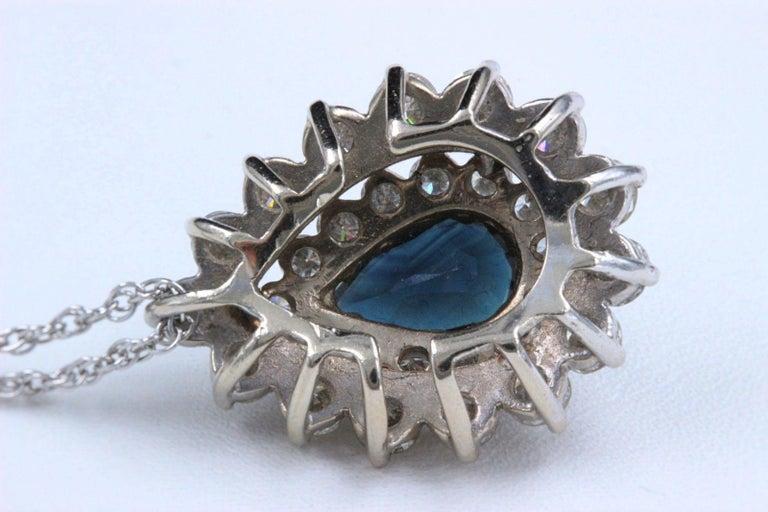 Women's Sapphire and Diamond Pendant Necklace 4.78 Carat 14 Karat White Gold For Sale