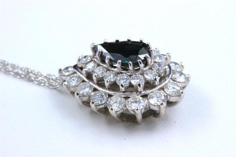 Sapphire and Diamond Pendant Necklace 4.78 Carat 14 Karat White Gold For Sale 1