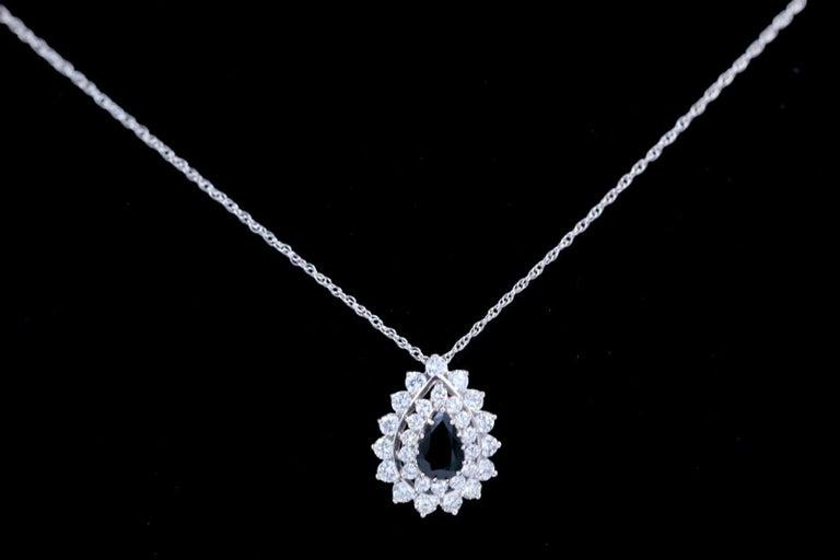 Sapphire and Diamond Pendant Necklace 4.78 Carat 14 Karat White Gold For Sale 3