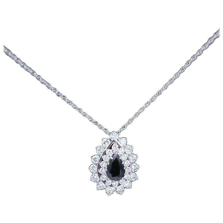 Sapphire and Diamond Pendant Necklace 4.78 Carat 14 Karat White Gold For Sale