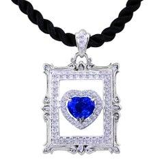 Sapphire and Diamond Pendant set in 18K