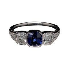 Sapphire and Diamond Platinum Art Deco Engagement Ring