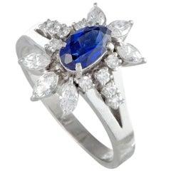 Sapphire and Diamond Platinum Cocktail Ring