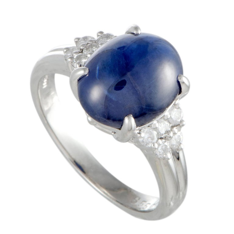 Sapphire and Diamond Platinum Cocktail Ring For Sale