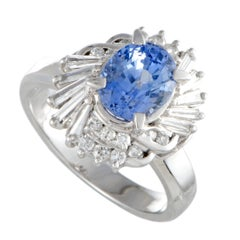Sapphire and Diamond Platinum Cocktail Ring