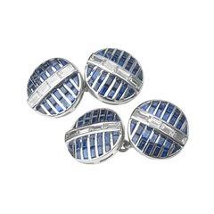 Sapphire and Diamond Platinum Cufflinks, Circa 1990