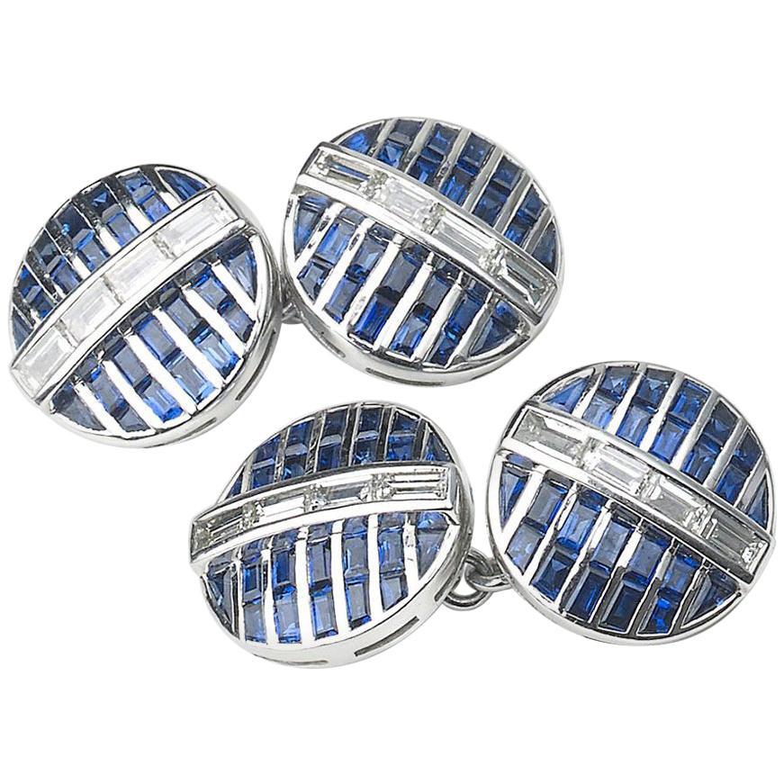 Sapphire and Diamond Platinum Cufflinks