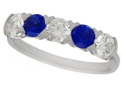 Sapphire and Diamond Platinum Five-Stone Cocktail Ring