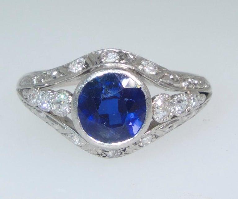 Saphir und Diamant Platin Ring, circa 1920 2