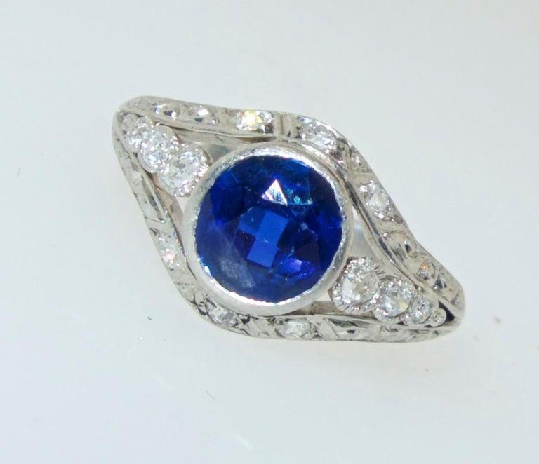 Saphir und Diamant Platin Ring, circa 1920 3