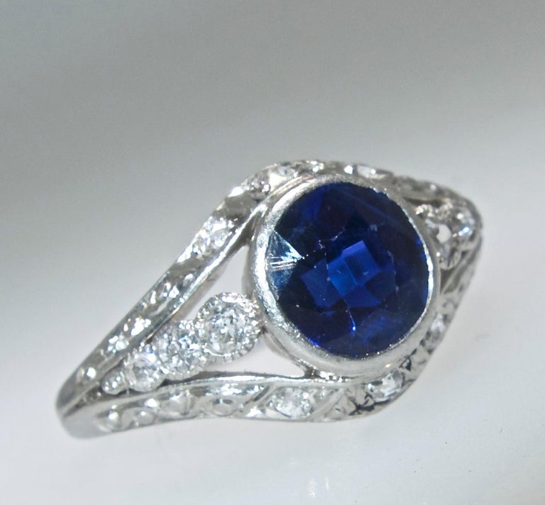 Saphir und Diamant Platin Ring, circa 1920 4