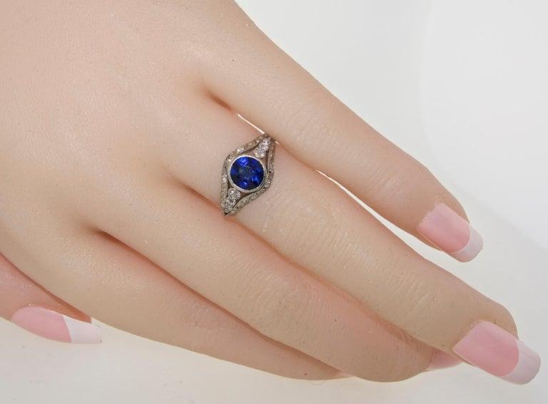 Saphir und Diamant Platin Ring, circa 1920 6