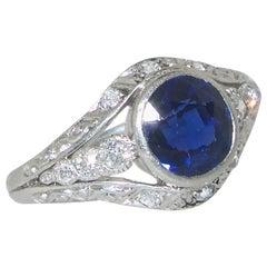Sapphire and Diamond Platinum Ring, circa 1920