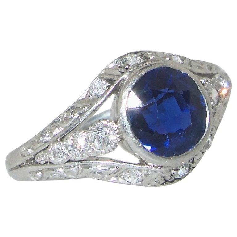 Saphir und Diamant Platin Ring, circa 1920 1