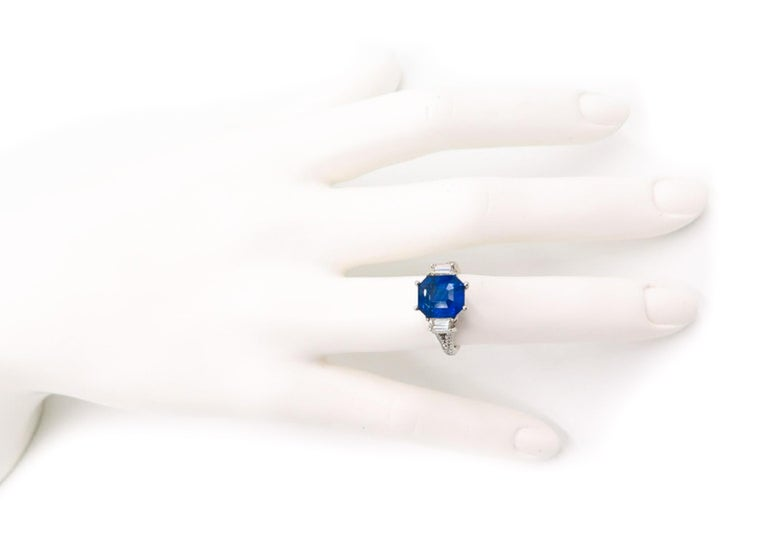 GIA Certified Sapphire and Diamond Platinum Ring For Sale 4