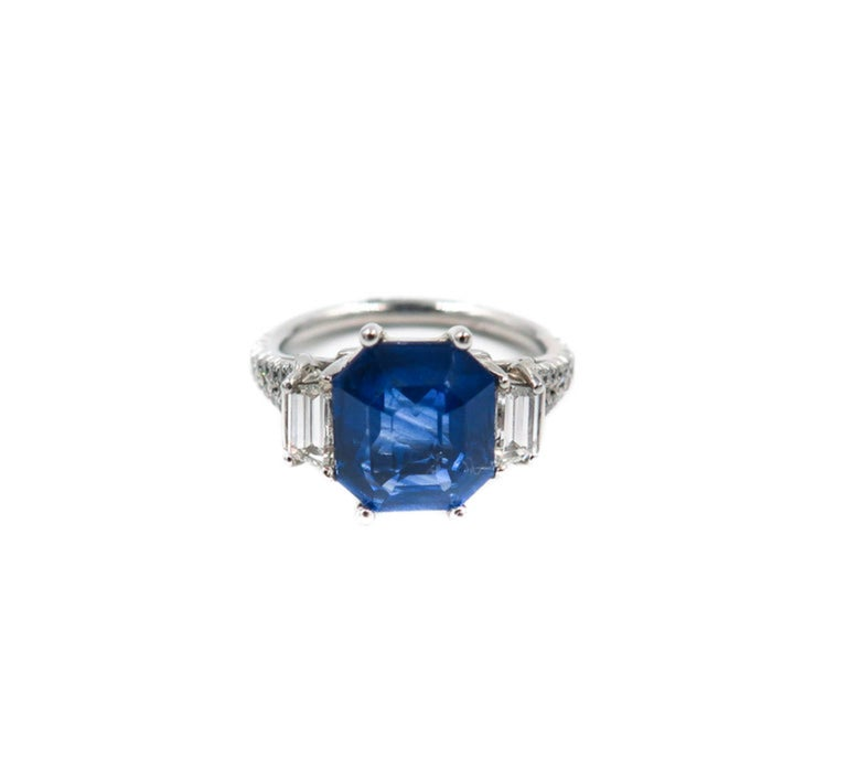 GIA Certified Sapphire and Diamond Platinum Ring For Sale 1