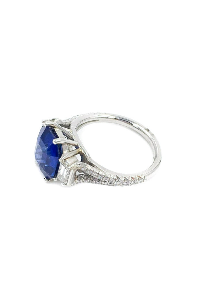 Octagon Cut GIA Certified Sapphire and Diamond Platinum Ring For Sale