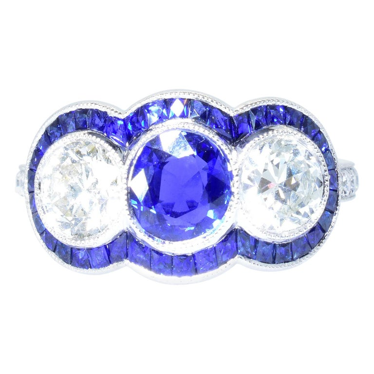 Sapphire and Diamond Platinum Ring For Sale