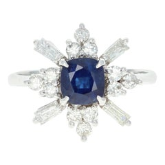 Sapphire and Diamond Ring, 14 Karat White Gold Square Cushion 1.49 Carat