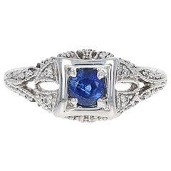 Sapphire and Diamond Ring, 18 Karat White Gold Round Cut .74 Carat