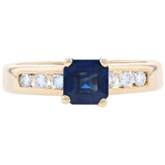 Sapphire and Diamond Ring, 18 Karat Yellow Gold Engagement .89 Carat