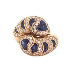 Sapphire and Diamond Ring 18 Karat Yellow Gold Heart and Circle Shapes