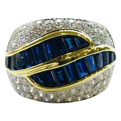 Sapphire and Diamond Ring Band Yellow Gold White Gold