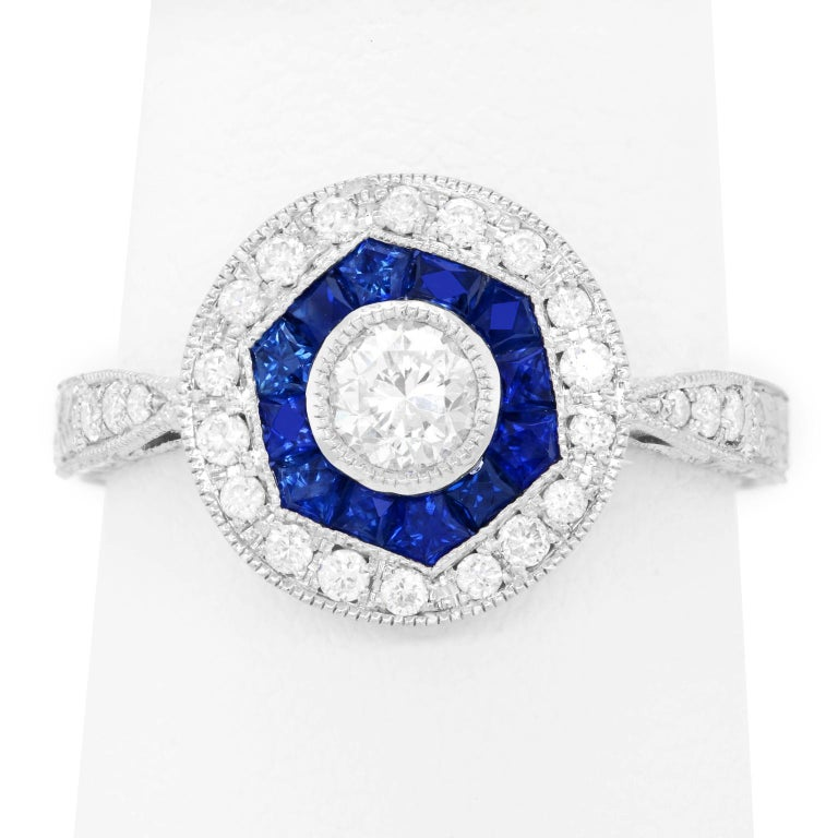 Sapphire and Diamond Ring For Sale 4