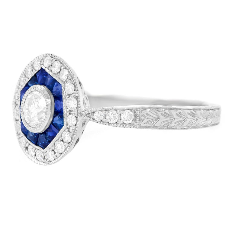Art Deco Sapphire and Diamond Ring For Sale