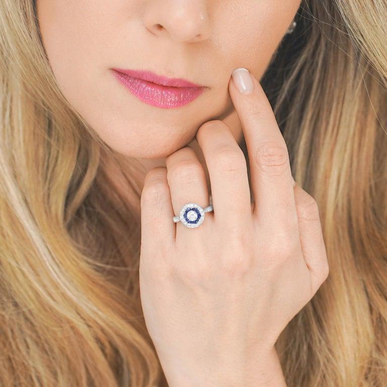 Brilliant Cut Sapphire and Diamond Ring For Sale