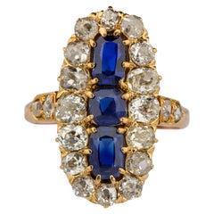 Sapphire and Diamond Ring GIA Certified No-Heat Edwardian Era