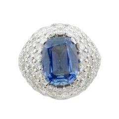 Sapphire and Diamond Ring in 18 Karat Gold, circa 1940s