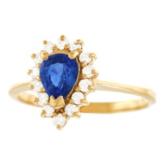 Sapphire and Diamond Set Gold Ring