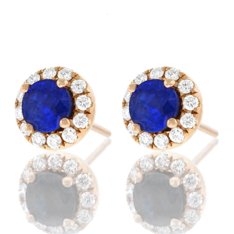 Sapphire and Diamond Set Gold Stud Earrings In Excellent Condition For Sale In Litchfield, CT