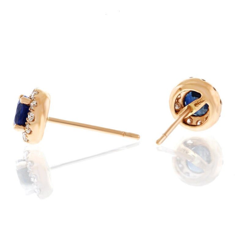 Sapphire and Diamond Set Gold Stud Earrings For Sale 3