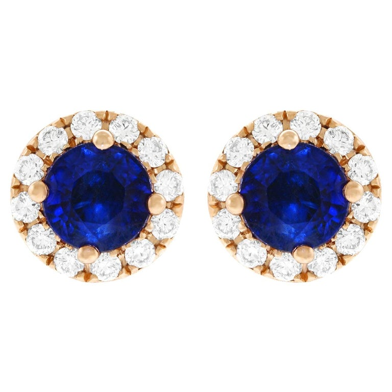 Sapphire and Diamond Set Gold Stud Earrings For Sale