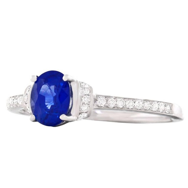 Sapphire and Diamond Set White Gold Engagement Ring