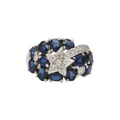Sapphire and Diamond Shooting Star Cocktail Ring
