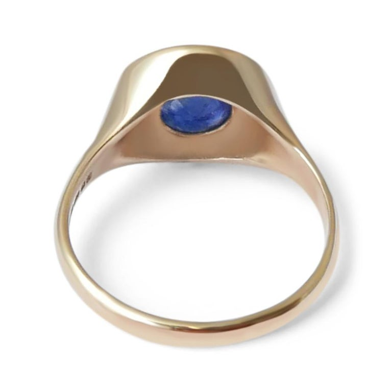 Round Cut Sapphire and Diamond Signet Ring in 14 Karat Gold by Allison Bryan For Sale