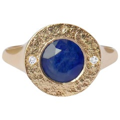 Sapphire and Diamond Signet Ring in 14 Karat Gold by Allison Bryan