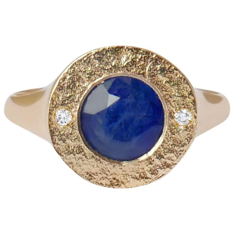 Sapphire and Diamond Signet Ring in 14 Karat Gold by Allison Bryan For Sale