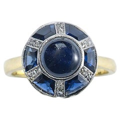 Sapphire and Diamond Silver Upon Gold Ring