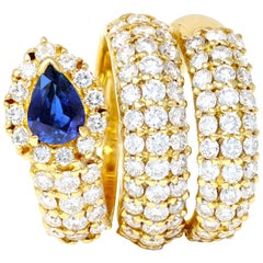 Sapphire and Diamond Snake Ring in 18k Yellow Gold