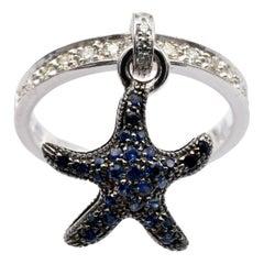Gilberto Cassola Sapphire and Diamond Starfish Charm White Gold Ring