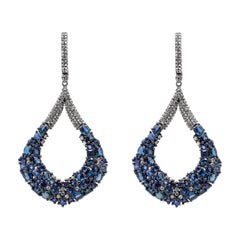 Sapphire and Diamond Statement Earrings in Victorian Style