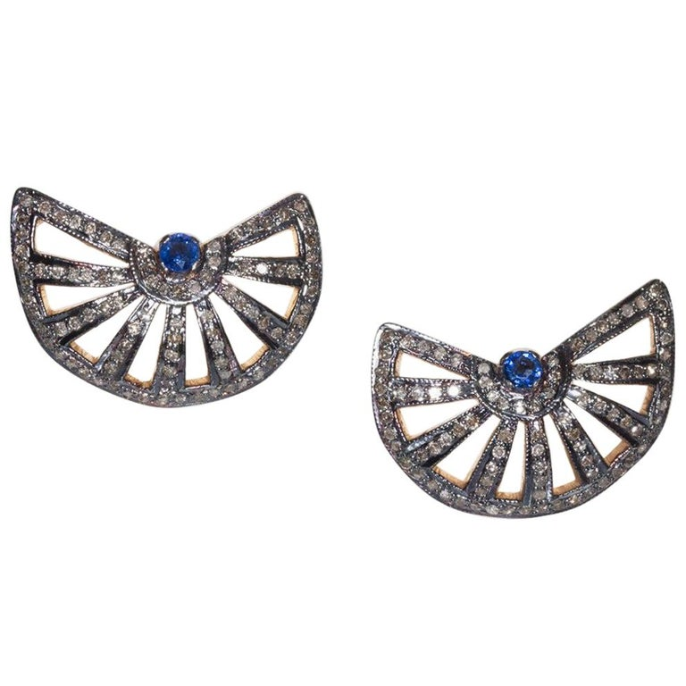 Sapphire and Diamond Stud Earrings For Sale