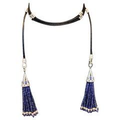 Sapphire and Diamond Tassel Lariat Necklace