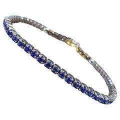 Sapphire and Diamond Tennis Bracelet, White Gold